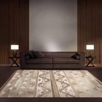 ecarpetgallery Tribeca Brown, Ivory Wool Kilim (5'0 x 8'0)
