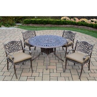 5 Piece Dining Set with 48-inch Round Table and 4 Cushioned Chairs