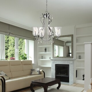 Decor Therapy Crystal/Steel 4-light Chandelier