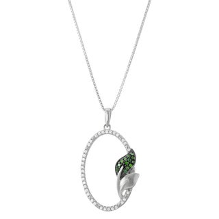 1/5 CTTW Oval Pendant With White And Green Diamonds in Sterling Silver