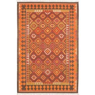 ecarpetgallery MAMARIS Red Wool Kilim (8'0 x 10'0)