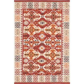 ecarpetgallery Antalya Ivory, Red Wool Kilim (8'0 x 10'0)