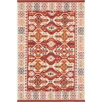 ecarpetgallery Antalya Ivory, Red Wool Kilim Rug - 8'0 x 10'0