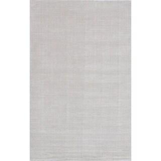 ecarpetgallery Shimmer Linear Grey Wool, Art Silk Rug(8'0 x 10'0)