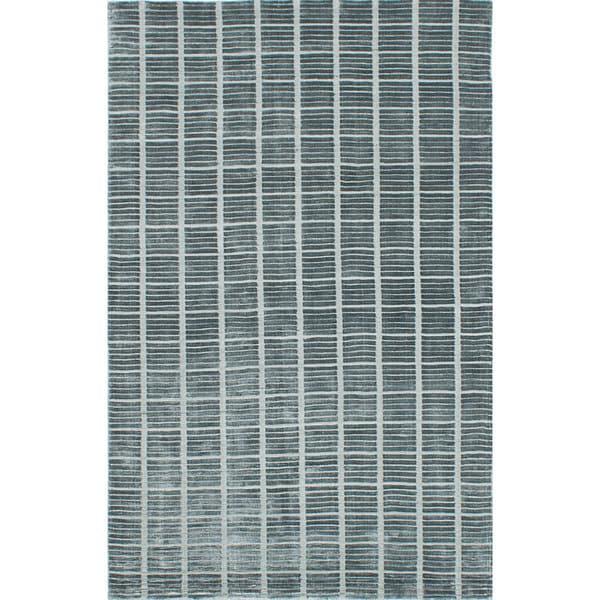 ecarpetgallery Shimmer Parquet Green Art Silk Rug - 5'0 x 8'0