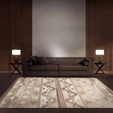 ECARPETGALLERY Tribeca Brown, Ivory Wool Kilim