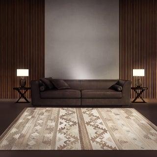 ecarpetgallery Tribeca Brown, Ivory Wool Kilim (4'0 x 6'0)