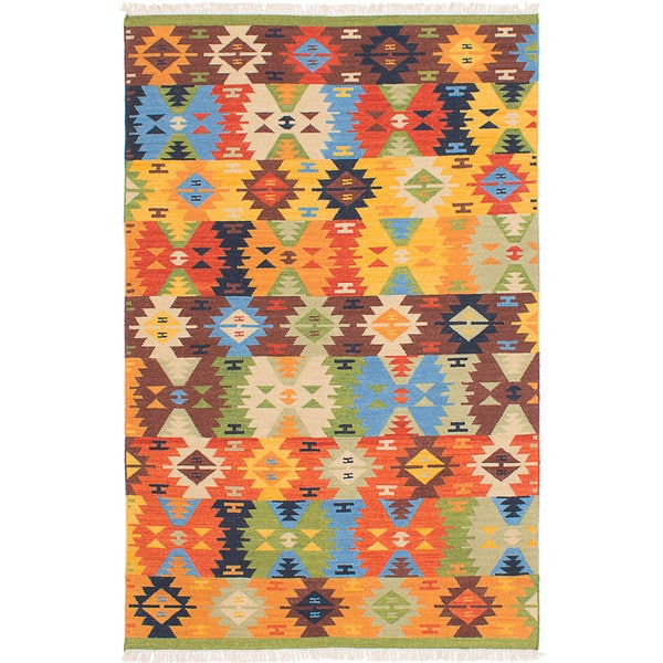 ECARPETGALLERY Flat-weave MAMARIS C313 Emerald Green, Orange Wool Kilim - 8'0 x 10'0