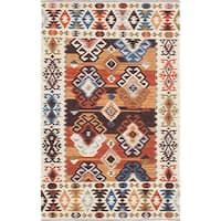 ecarpetgallery Antalya Brown, Ivory  Wool Kilim (8'0 x 10'0) - 8' x 10'