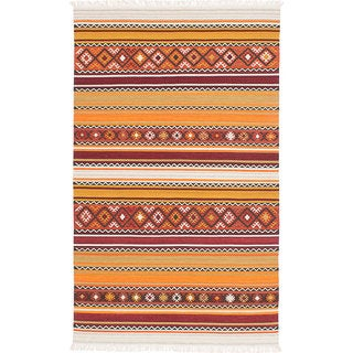 ecarpetgallery Adana Orange, Red  Wool Kilim (8'0 x 10'0)