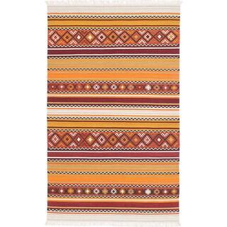 ecarpetgallery Adana Orange, Red Wool Kilim Rug - 8'0 x 10'0
