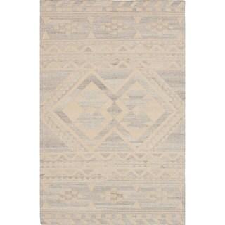ecarpetgallery Tribeca Grey, Ivory Wool Kilim Rug - 4'0 x 6'0