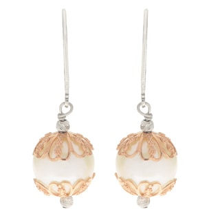 Pearls For You 14k Rose Gold Sterling Silver Caged Freshwater Pearl Dangle Earrings