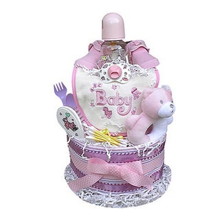 Baby Gift Idea Girls' Shower Centerpiece 2-tiered Diaper Cake