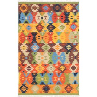 ecarpetgallery MAMARIS Green, Orange Wool Kilim (4'0 x 6'0)
