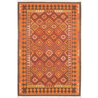 ecarpetgallery MAMARIS Red Wool Kilim (5'0 x 8'0)