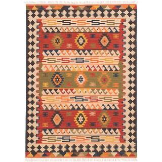 ecarpetgallery MAMARIS Ivory, Red Wool Kilim (4'0 x 6'0)