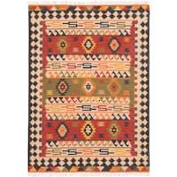 ecarpetgallery MAMARIS Ivory, Red Wool Kilim Rug - 4'0 x 6'0