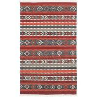 ecarpetgallery Adana Red Wool Kilim - 4'0 x 6'0