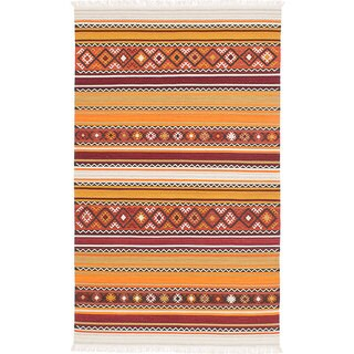ecarpetgallery Adana Orange, Red  Wool Kilim (4'0 x 6'0)