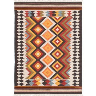 ecarpetgallery MAMARIS Ivory, Orange  Wool Kilim (5'0 x 8'0)