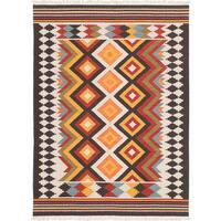 ecarpetgallery MAMARIS Ivory, Orange  Wool Kilim (5'0 x 8'0)