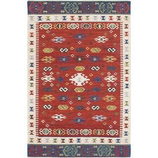 ecarpetgallery Antalya Red Wool Kilim (4'0 x 6'0)