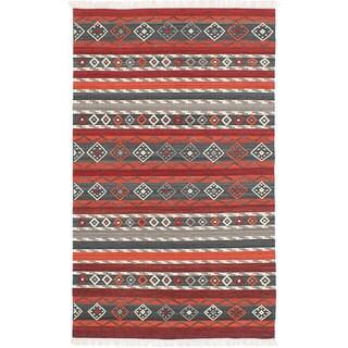 ecarpetgallery Adana Red Wool Kilim (5'0 x 8'0)