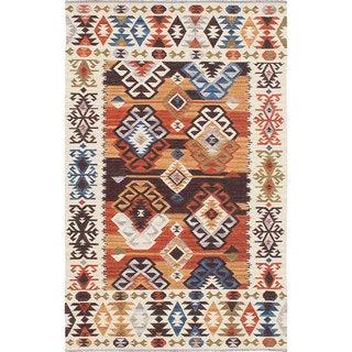 ecarpetgallery Antalya Brown, Ivory Wool Kilim Rug (8 x 10 - Cream/Dark Copper)