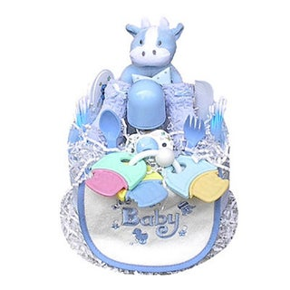 Boy's Blue 1 Tier Shower Centerpiece Diaper Cake
