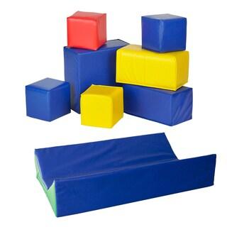 Karma Baby Toddler Block Set and SoftZone Baby Diaper Changing Pad (7-piece Set)