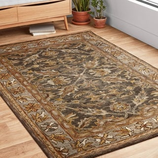 "Hand-hooked Owen Dark Taupe/ Grey Wool Rug - 7'9"" x 9'9"""