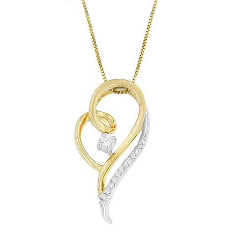 Espira 10K Two-Tone Gold 1/6 ct. TDW Round Cut Diamond Layers of Love Pendant Necklace (J-K, I1-I2)