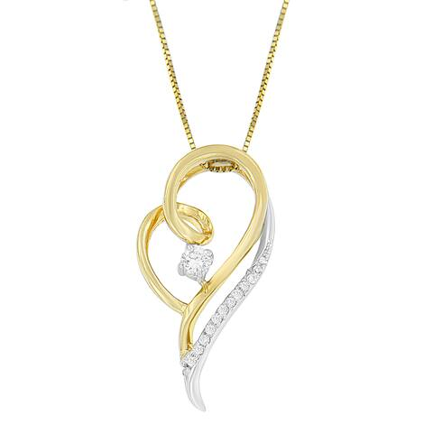 Espira 10K Two-Tone Gold 1/6 ct. TDW Round Cut Diamond Layers of Love Pendant Necklace (J-K, I1-I2)