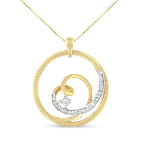 Espira 10k Yellow Gold 1/6ct TDW Round-cut Diamond Pendant Necklace (I-J, I1-I2)