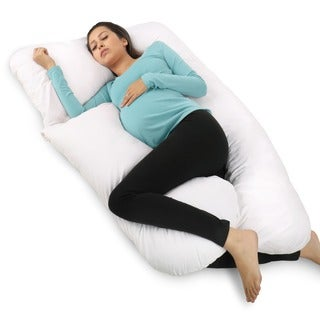 PharMeDoc Total Body Hypoallergenic Pillow U Shaped With Detachable Extension Comfortable Maternity Pregnancy Cushion