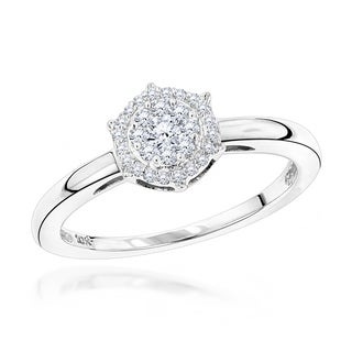 Luxurman 10k White Gold 1/5ct TDW Round-cut Diamond Cluster Ring (H-I, I1-I2)