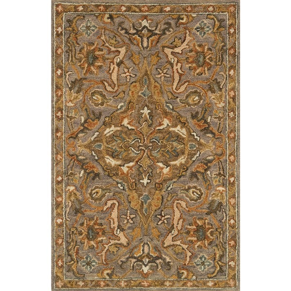 Hand-hooked Owen Grey/ Multi Wool Rug - 2'3 x 3'9