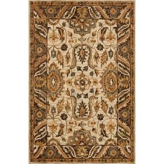 "Hand-hooked Owen Ivory/ Dark Taupe Wool Rug - 7'9"" x 9'9"""