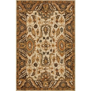 Hand-hooked Owen Ivory/ Dark Taupe Wool Rug (7'9 x 9'9)