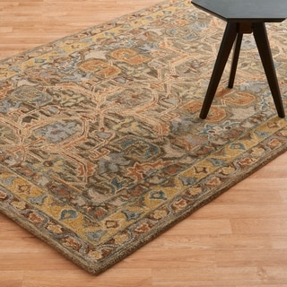 Hand-hooked Owen Walnut/ Multi Wool Rug (7'9 x 9'9)