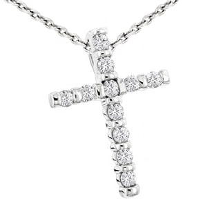 Luxurman 14k Gold 1/3ct TDW Round-cut Diamond Cross Pendant (H-I, SI1-SI2)