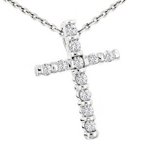 Luxurman 14k Gold 1/3ct TDW Round-cut Diamond Cross Pendant