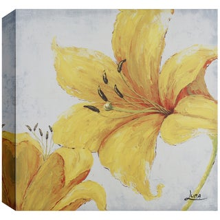 Hobbitholeco 'Yellow Floral' Canvas Square Wall Art