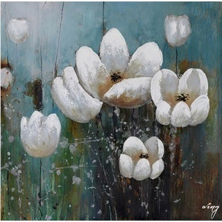 Hobbitholeco 'White Floral' 24-inch x 24-inch Gallery-wrapped Canvas Wall Art