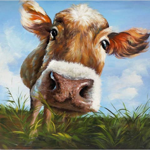 ArtMaison Canada 'Cow in Field' 24-inch x 24-inch Wrapped Canvas Art