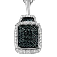 Sterling Silver 0.5 ct TDW Round Cut White and Treated Blue Diamond Block Pendant Necklace (I-J, I1-I2)