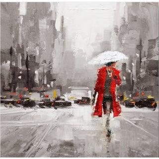 Hobbitholeco 'Walk in the Rain' 24-inch Square Wall Art