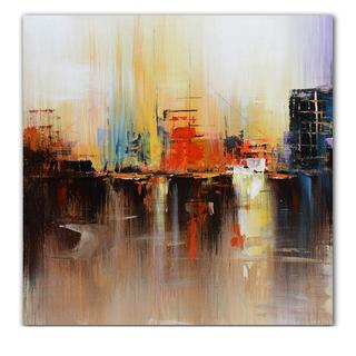 Hobbitholeco 'Cityscape' 24-inch x 24-inch Wrapped Canvas Art