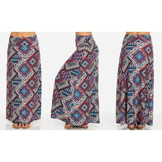 Blue Polyester and Spandex Fold-over Printed Maxi Skirt